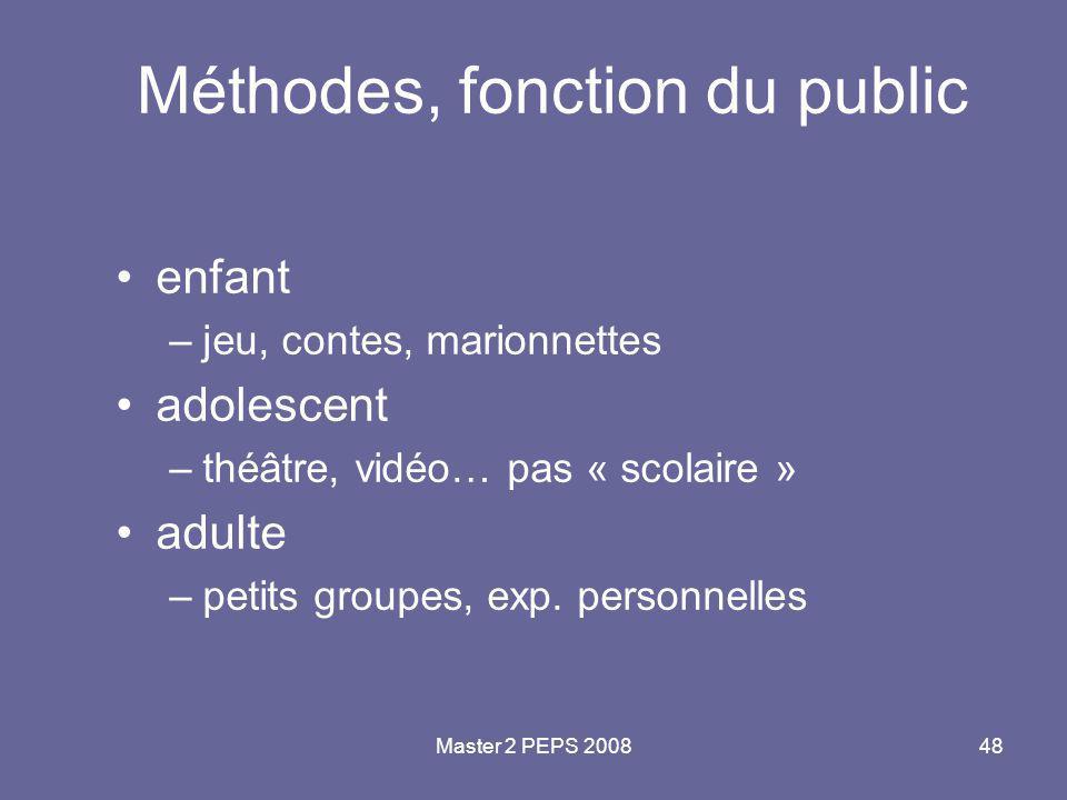 Master 2 PEPS 200848 Méthodes, fonction du public enfant –jeu, contes, marionnettes adolescent –théâtre, vidéo… pas « scolaire » adulte –petits groupe