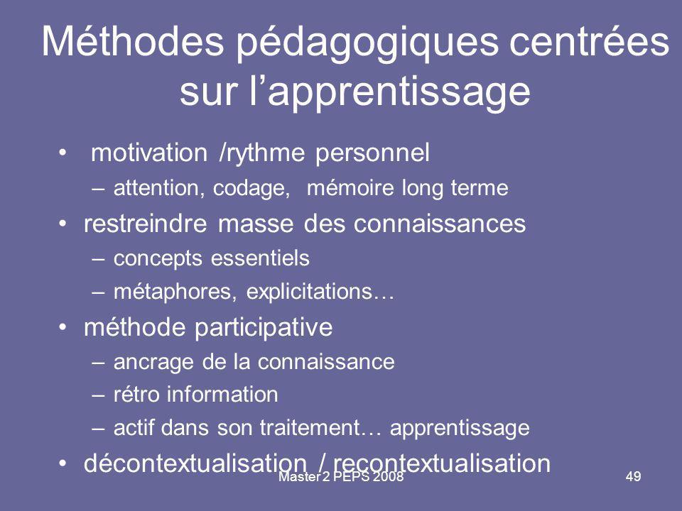 Master 2 PEPS 200849 Méthodes pédagogiques centrées sur l'apprentissage motivation /rythme personnel –attention, codage, mémoire long terme restreindr