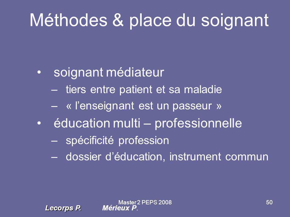 Master 2 PEPS 200850 Méthodes & place du soignant soignant médiateur –tiers entre patient et sa maladie –« l'enseignant est un passeur » éducation mul