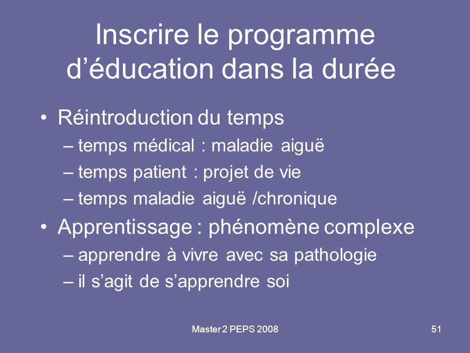 Master 2 PEPS 200851 Inscrire le programme d'éducation dans la durée Réintroduction du temps –temps médical : maladie aiguë –temps patient : projet de