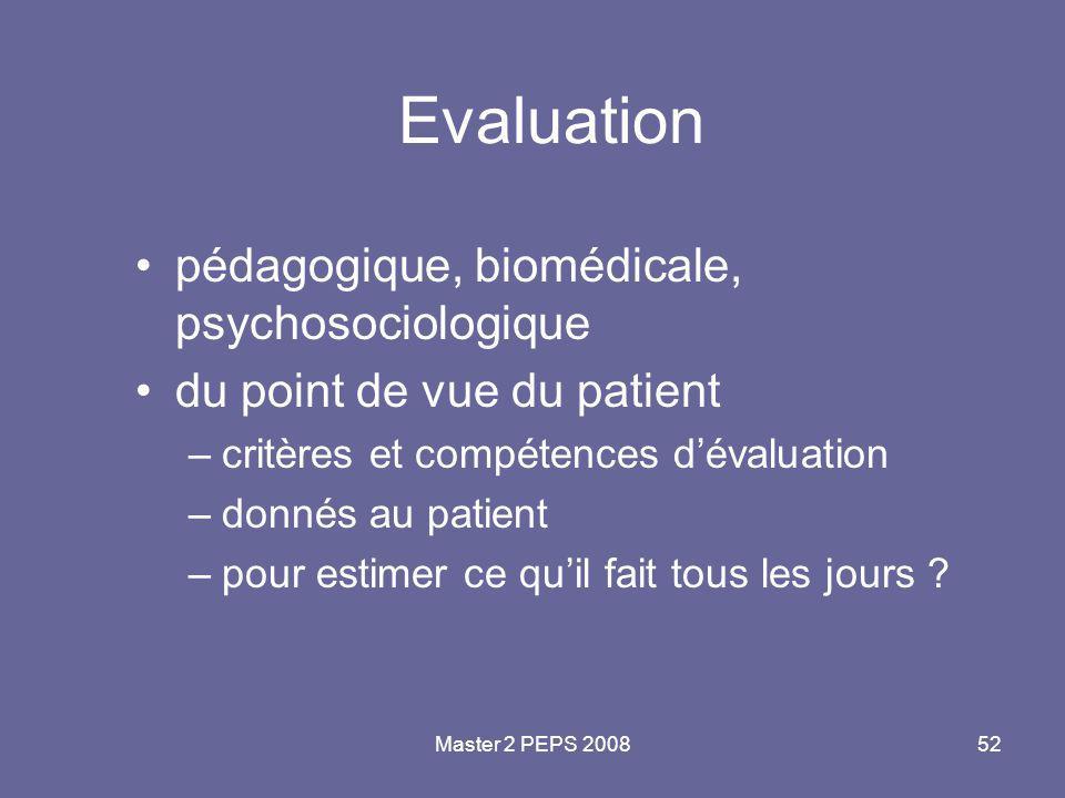 Master 2 PEPS 200852 Evaluation pédagogique, biomédicale, psychosociologique du point de vue du patient –critères et compétences d'évaluation –donnés