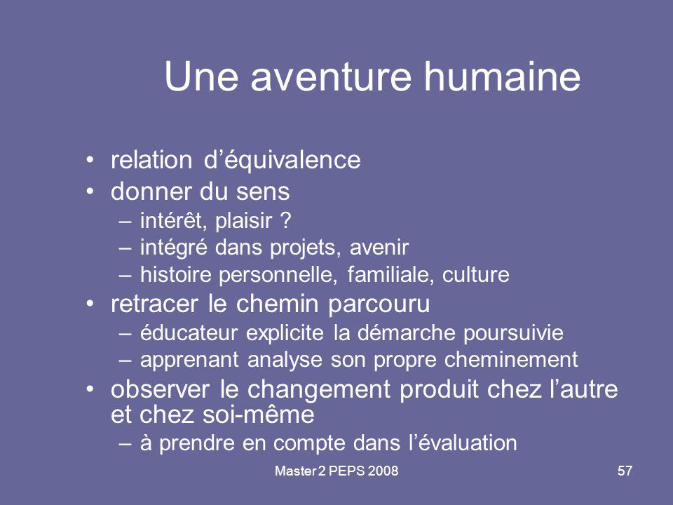 Master 2 PEPS 200857 Une aventure humaine relation d'équivalence donner du sens –intérêt, plaisir ? –intégré dans projets, avenir –histoire personnell
