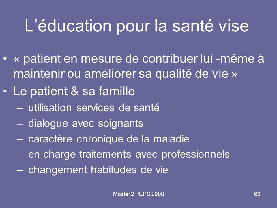Master 2 PEPS 200860 L'éducation pour la santé vise « patient en mesure de contribuer lui -même à maintenir ou améliorer sa qualité de vie » Le patien