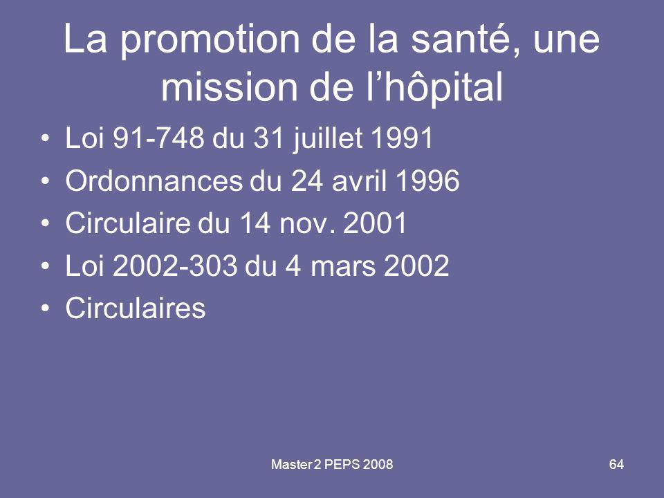 Master 2 PEPS 200864 La promotion de la santé, une mission de l'hôpital Loi 91-748 du 31 juillet 1991 Ordonnances du 24 avril 1996 Circulaire du 14 no