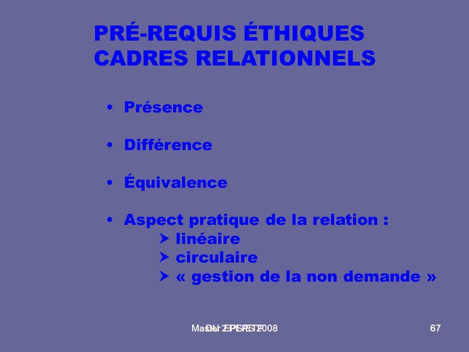 Master 2 PEPS 200867DU EPS/ETP67 PRÉ-REQUIS ÉTHIQUES CADRES RELATIONNELS Présence Différence Équivalence Aspect pratique de la relation :  linéaire 