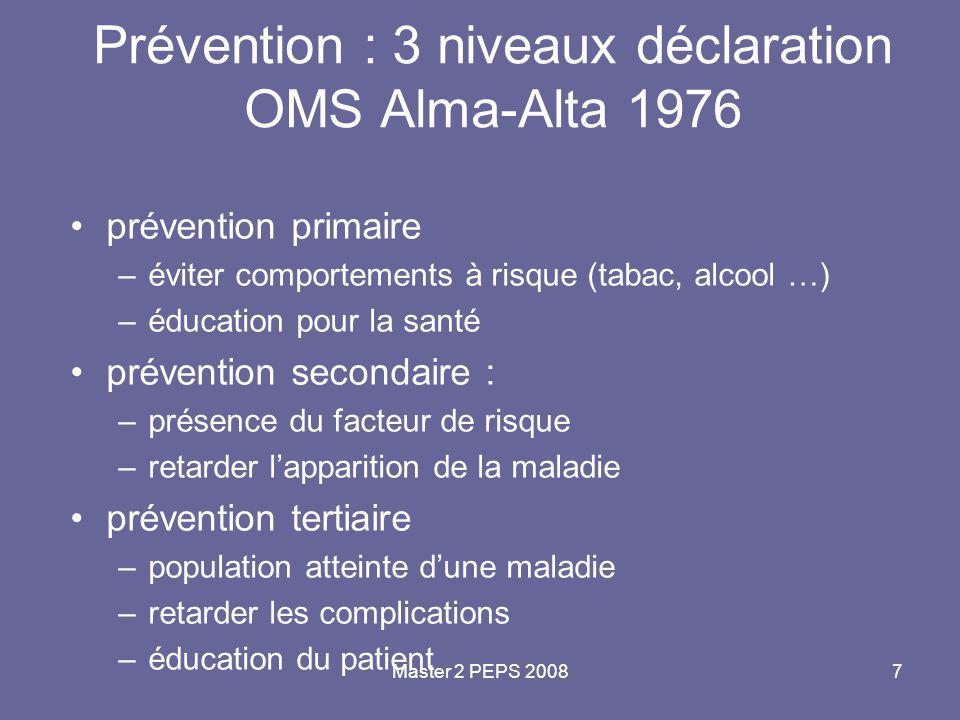 Master 2 PEPS 20087 Prévention : 3 niveaux déclaration OMS Alma-Alta 1976 prévention primaire –éviter comportements à risque (tabac, alcool …) –éducat