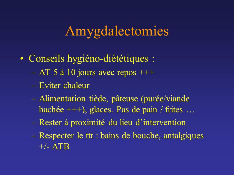 Amygdalectomies Conseils hygiéno-diététiques : –AT 5 à 10 jours avec repos +++ –Eviter chaleur –Alimentation tiède, pâteuse (purée/viande hachée +++),