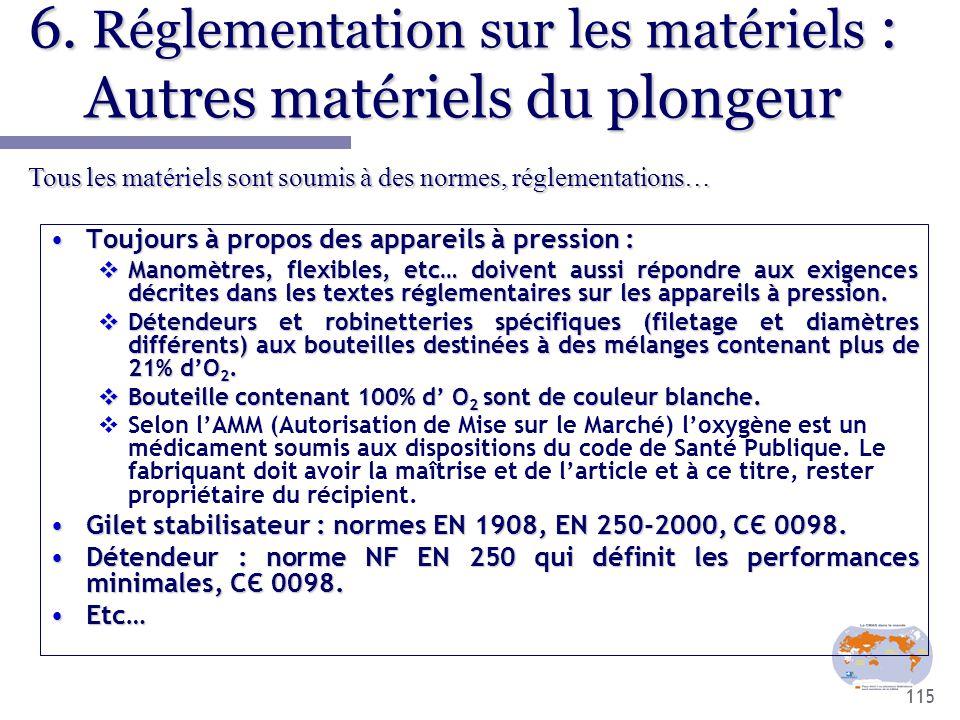 115 6. Réglementation sur les matériels : Autres matériels du plongeur Toujours à propos des appareils à pression :Toujours à propos des appareils à p