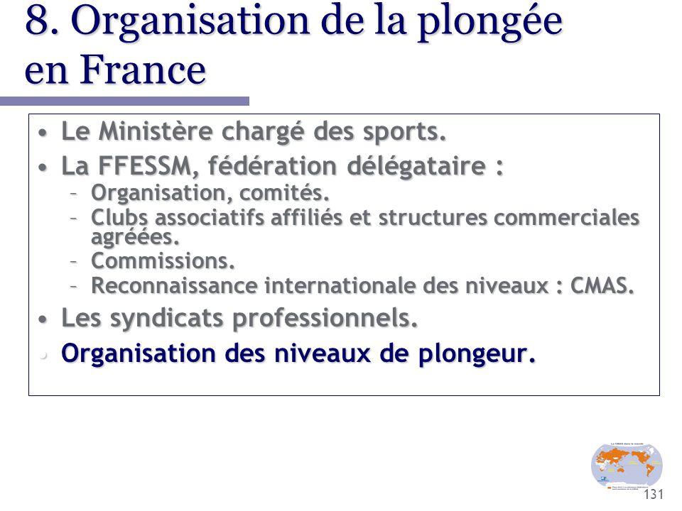 131 8. Organisation de la plongée en France Le Ministère chargé des sports.Le Ministère chargé des sports. La FFESSM, fédération délégataire :La FFESS