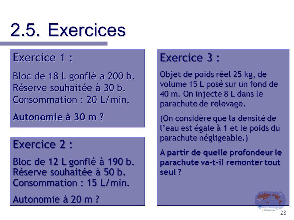28 2.5.Exercices Exercice 1 : Bloc de 18 L gonflé à 200 b. Réserve souhaitée à 30 b. Consommation : 20 L/min. Autonomie à 30 m ? Exercice 2 : Bloc de