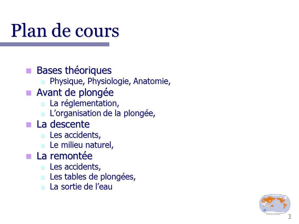 3 Plan de cours Bases théoriques Bases théoriques Physique, Physiologie, Anatomie, Physique, Physiologie, Anatomie, Avant de plongée Avant de plongée