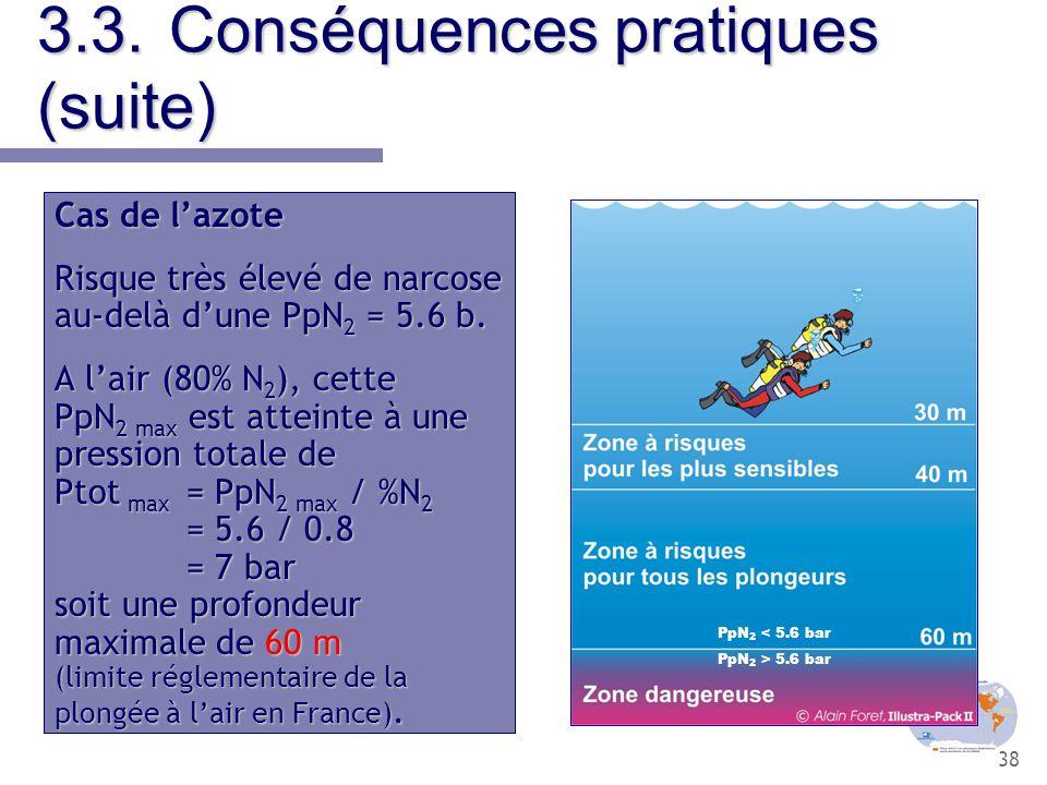 38 3.3.Conséquences pratiques (suite) Cas de l'azote Risque très élevé de narcose au-delà d'une PpN 2 = 5.6 b. A l'air (80% N 2 ), cette PpN 2 max est