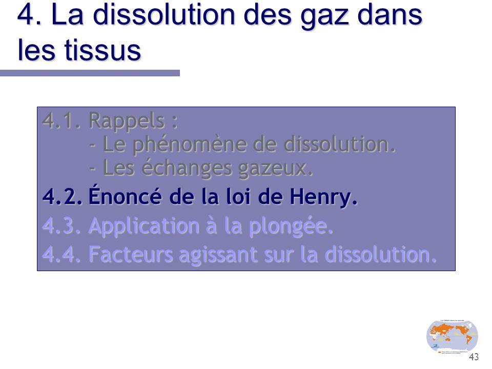 43 4. La dissolution des gaz dans les tissus 4.1.Rappels : - Le phénomène de dissolution. - Les échanges gazeux. 4.2.Énoncé de la loi de Henry. 4.3.Ap