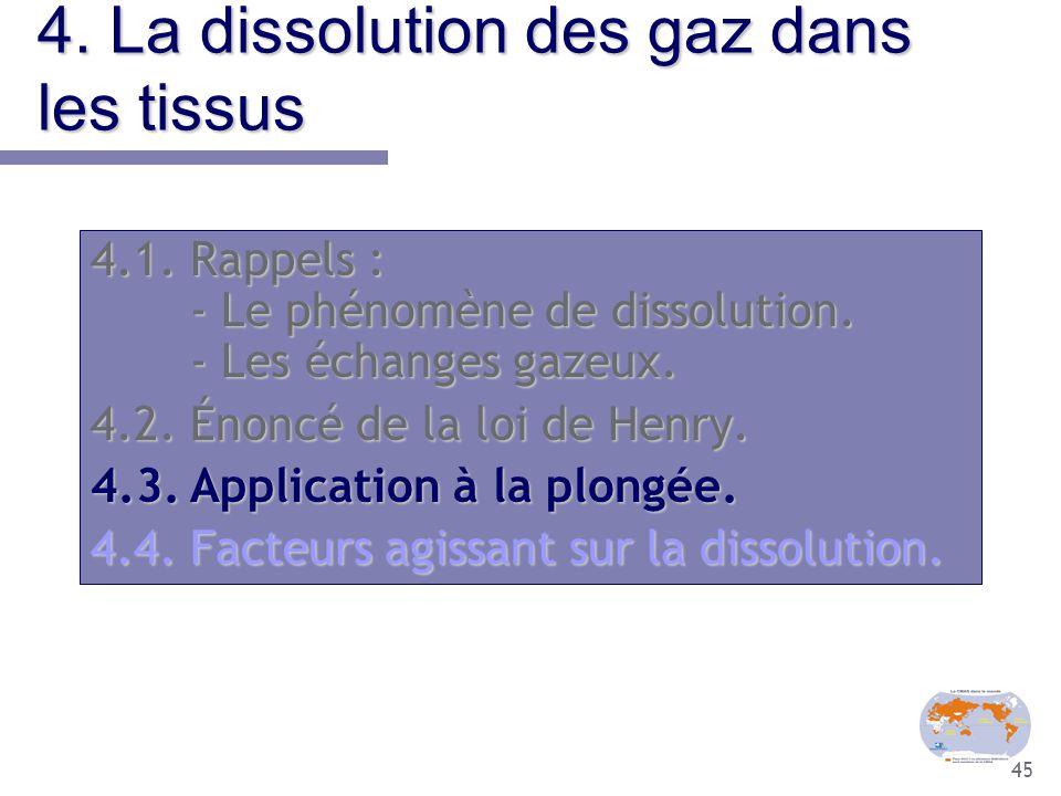 45 4. La dissolution des gaz dans les tissus 4.1.Rappels : - Le phénomène de dissolution. - Les échanges gazeux. 4.2.Énoncé de la loi de Henry. 4.3.Ap