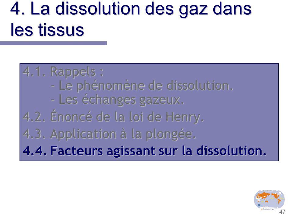 47 4. La dissolution des gaz dans les tissus 4.1.Rappels : - Le phénomène de dissolution. - Les échanges gazeux. 4.2.Énoncé de la loi de Henry. 4.3.Ap
