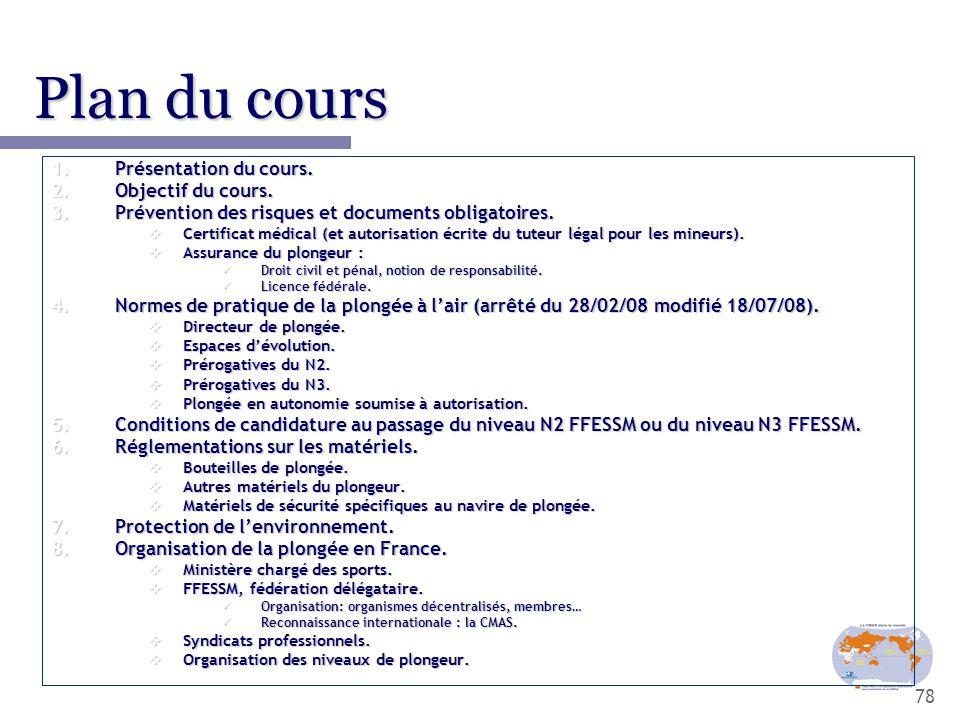 78 Plan du cours 1.Présentation du cours. 2.Objectif du cours. 3.Prévention des risques et documents obligatoires.  Certificat médical (et autorisati