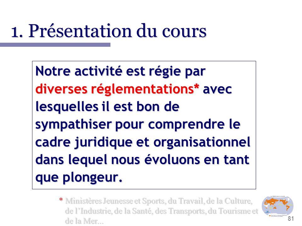 81 1. Présentation du cours Notre activité est régie par diverses réglementations* avec lesquelles il est bon de sympathiser pour comprendre le cadre
