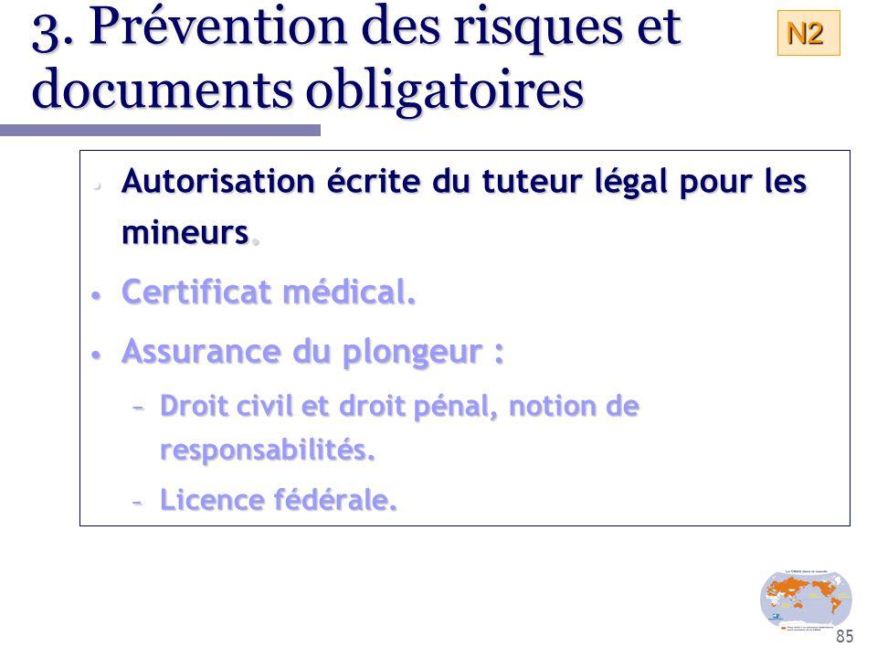 85 3. Prévention des risques et documents obligatoires Autorisation écrite du tuteur légal pour les mineurs. Autorisation écrite du tuteur légal pour