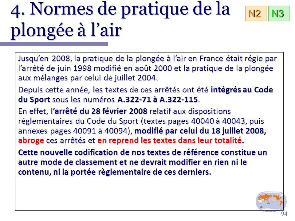 94 4. Normes de pratique de la plongée à l'air N3N2 Jusqu'en 2008, la pratique de la plongée à l'air en France était régie par l'arrêté de juin 1998 m