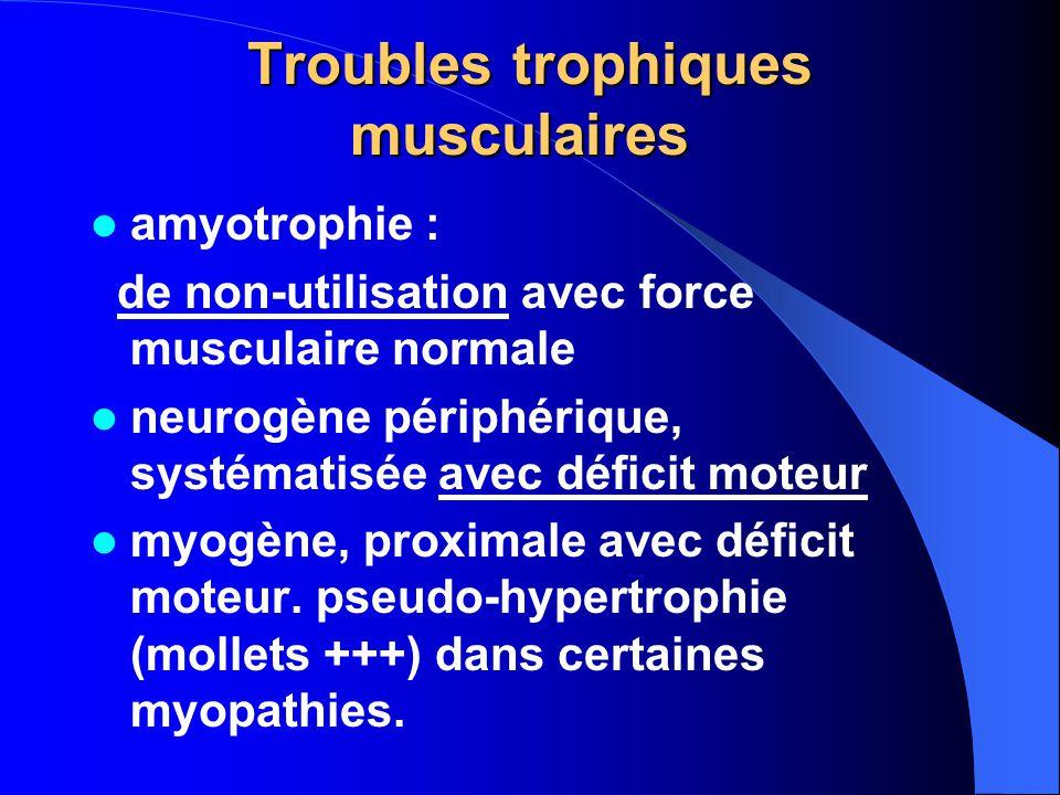 Troubles trophiques musculaires Troubles trophiques musculaires amyotrophie : de non-utilisation avec force musculaire normale neurogène périphérique, systématisée avec déficit moteur myogène, proximale avec déficit moteur.