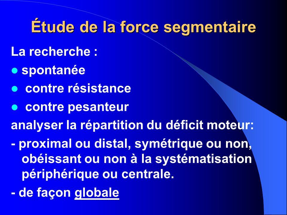 Étude de la force segmentaire La recherche : spontanée contre résistance contre pesanteur analyser la répartition du déficit moteur: - proximal ou dis