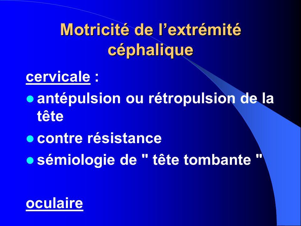 Motricité de l'extrémité céphalique cervicale : antépulsion ou rétropulsion de la tête contre résistance sémiologie de tête tombante oculaire