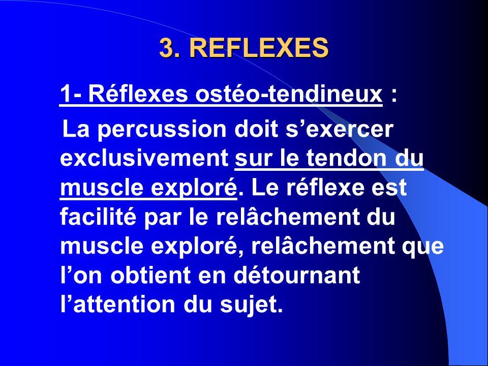 3. REFLEXES 1- Réflexes ostéo-tendineux : La percussion doit s'exercer exclusivement sur le tendon du muscle exploré. Le réflexe est facilité par le r