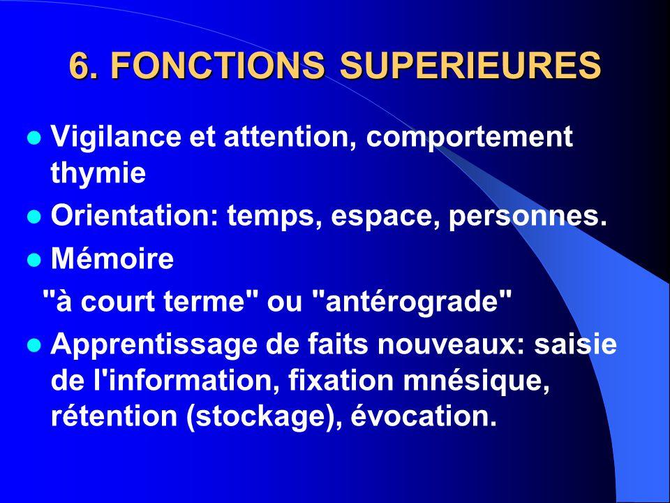 6. FONCTIONS SUPERIEURES Vigilance et attention, comportement thymie Orientation: temps, espace, personnes. Mémoire