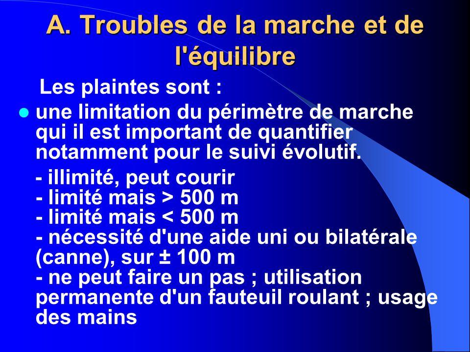 A. Troubles de la marche et de l'équilibre Les plaintes sont : une limitation du périmètre de marche qui il est important de quantifier notamment pour