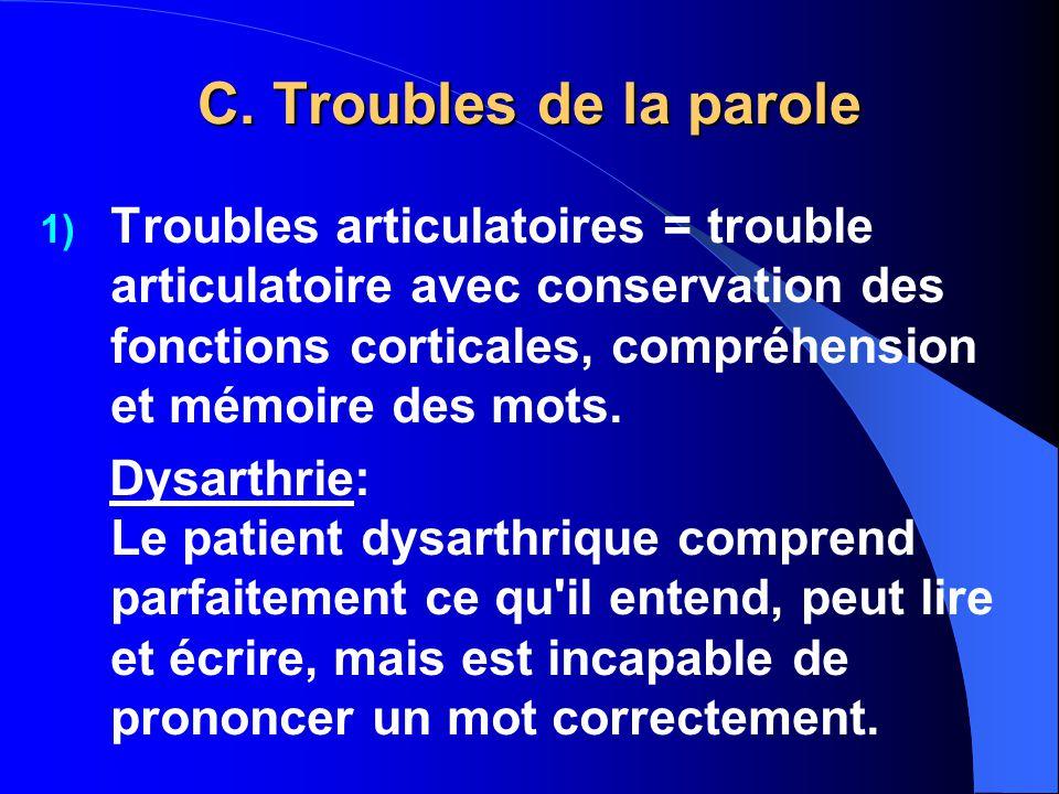 C. Troubles de la parole 1) Troubles articulatoires = trouble articulatoire avec conservation des fonctions corticales, compréhension et mémoire des m