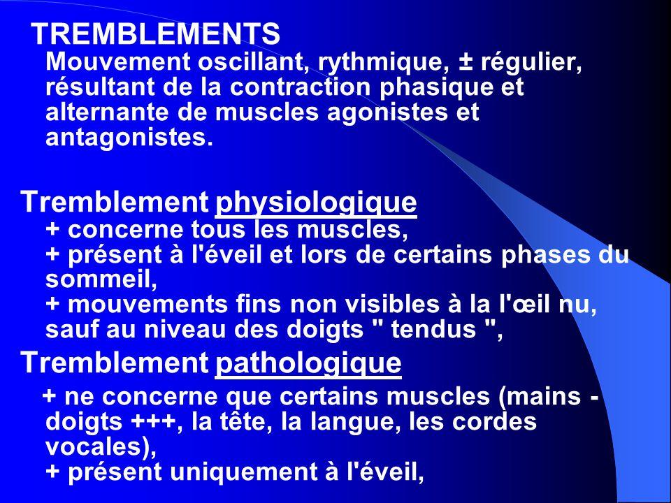TREMBLEMENTS Mouvement oscillant, rythmique, ± régulier, résultant de la contraction phasique et alternante de muscles agonistes et antagonistes. Trem