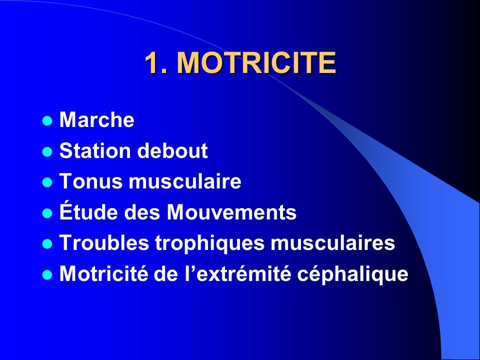 1. MOTRICITE Marche Station debout Tonus musculaire Étude des Mouvements Troubles trophiques musculaires Motricité de l'extrémité céphalique