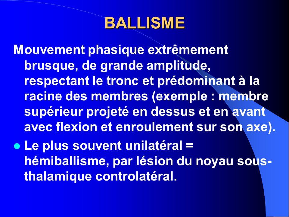 BALLISME Mouvement phasique extrêmement brusque, de grande amplitude, respectant le tronc et prédominant à la racine des membres (exemple : membre sup