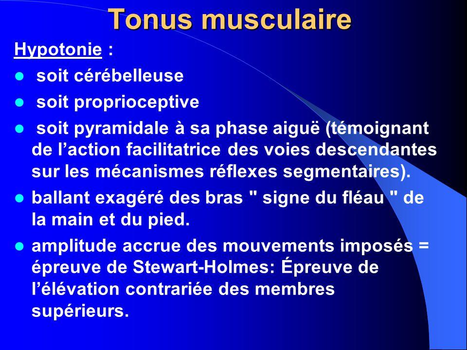 Tonus musculaire Hypotonie : soit cérébelleuse soit proprioceptive soit pyramidale à sa phase aiguë (témoignant de l'action facilitatrice des voies descendantes sur les mécanismes réflexes segmentaires).
