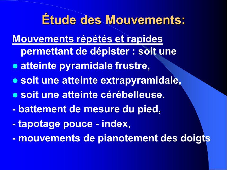 Étude des Mouvements: Mouvements répétés et rapides permettant de dépister : soit une atteinte pyramidale frustre, soit une atteinte extrapyramidale, soit une atteinte cérébelleuse.