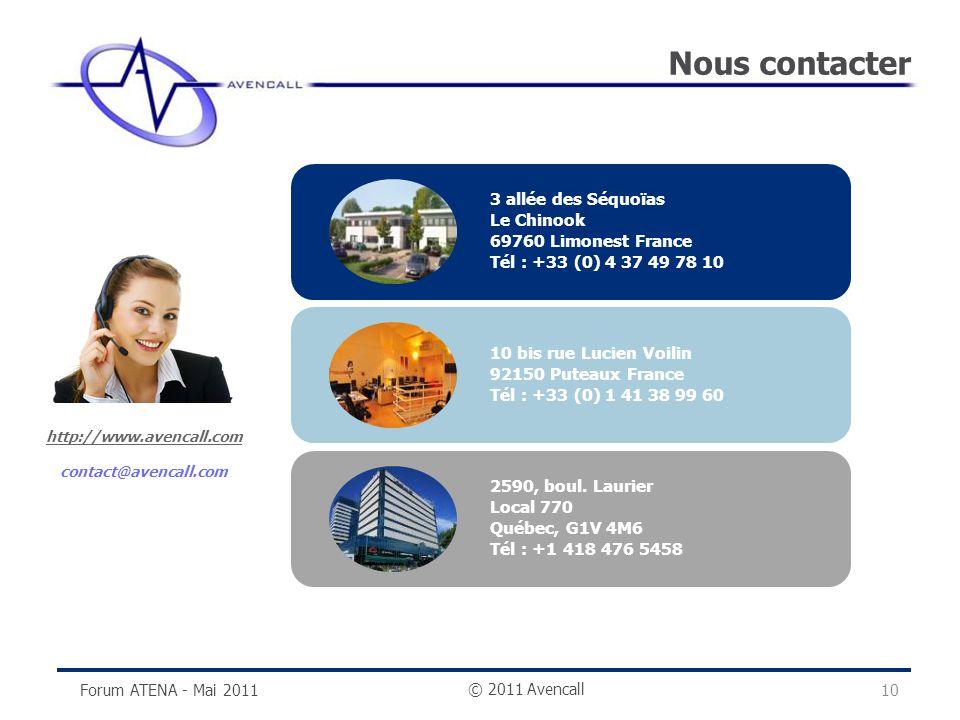 © 2011 Avencall Nous contacter http://www.avencall.com contact@avencall.com Forum ATENA - Mai 2011 3 allée des Séquoïas Le Chinook 69760 Limonest Fran