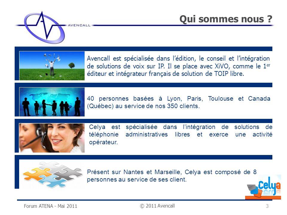 © 2011 Avencall Qui sommes nous ? Forum ATENA - Mai 20113 40 personnes basées à Lyon, Paris, Toulouse et Canada (Québec) au service de nos 350 clients