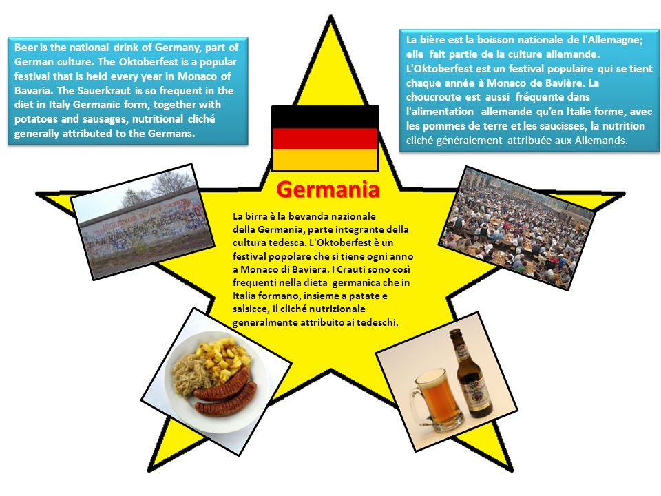 Germania La birra è la bevanda nazionale della Germania, parte integrante della cultura tedesca.