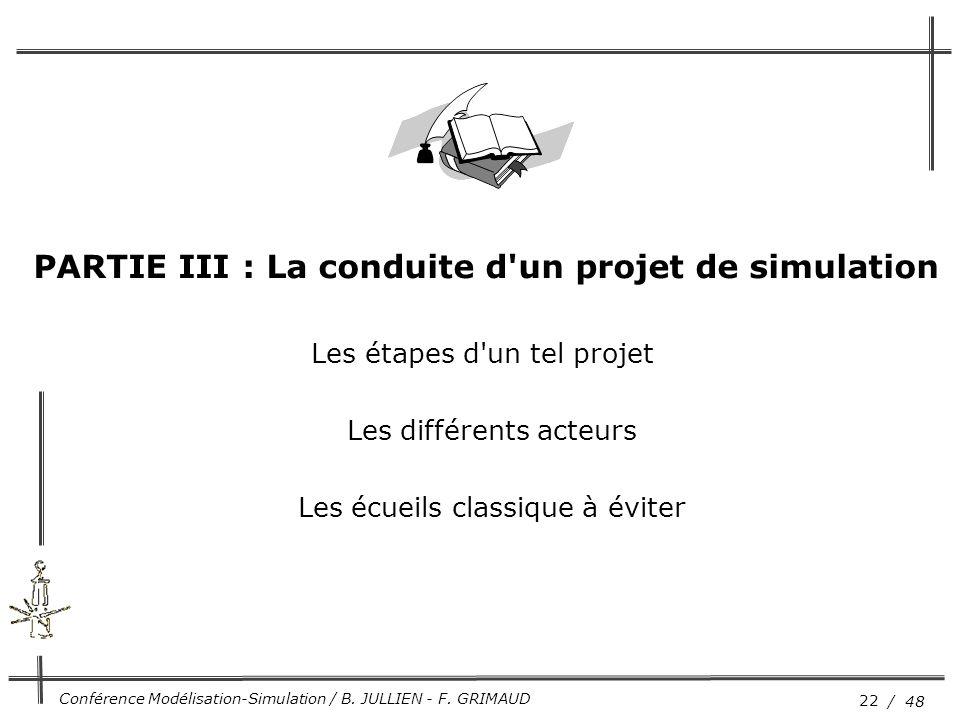22 / 48 Conférence Modélisation-Simulation / B. JULLIEN - F. GRIMAUD Les étapes d'un tel projet Les différents acteurs Les écueils classique à éviter