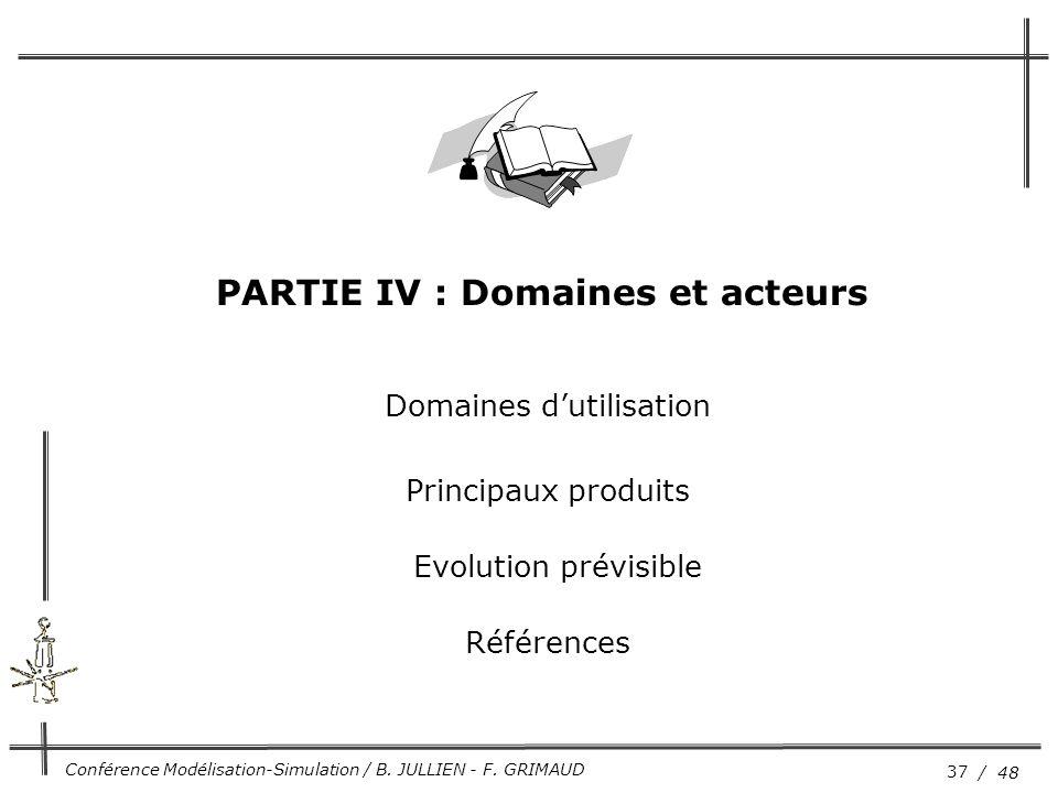 37 / 48 Conférence Modélisation-Simulation / B. JULLIEN - F. GRIMAUD Domaines d'utilisation Principaux produits Evolution prévisible Références PARTIE