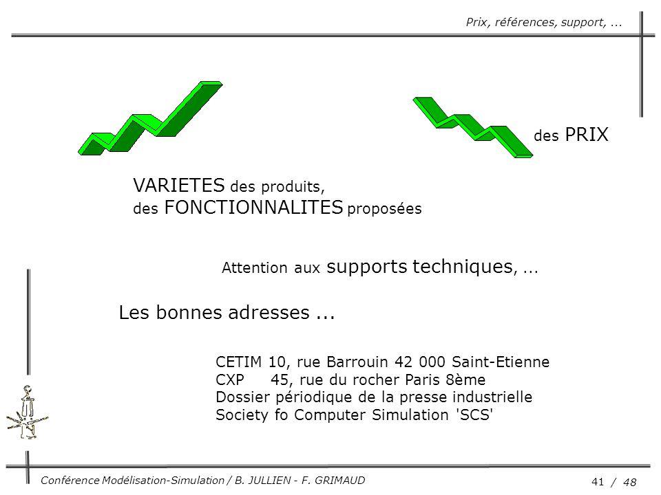41 / 48 Conférence Modélisation-Simulation / B. JULLIEN - F. GRIMAUD des PRIX VARIETES des produits, des FONCTIONNALITES proposées Attention aux suppo