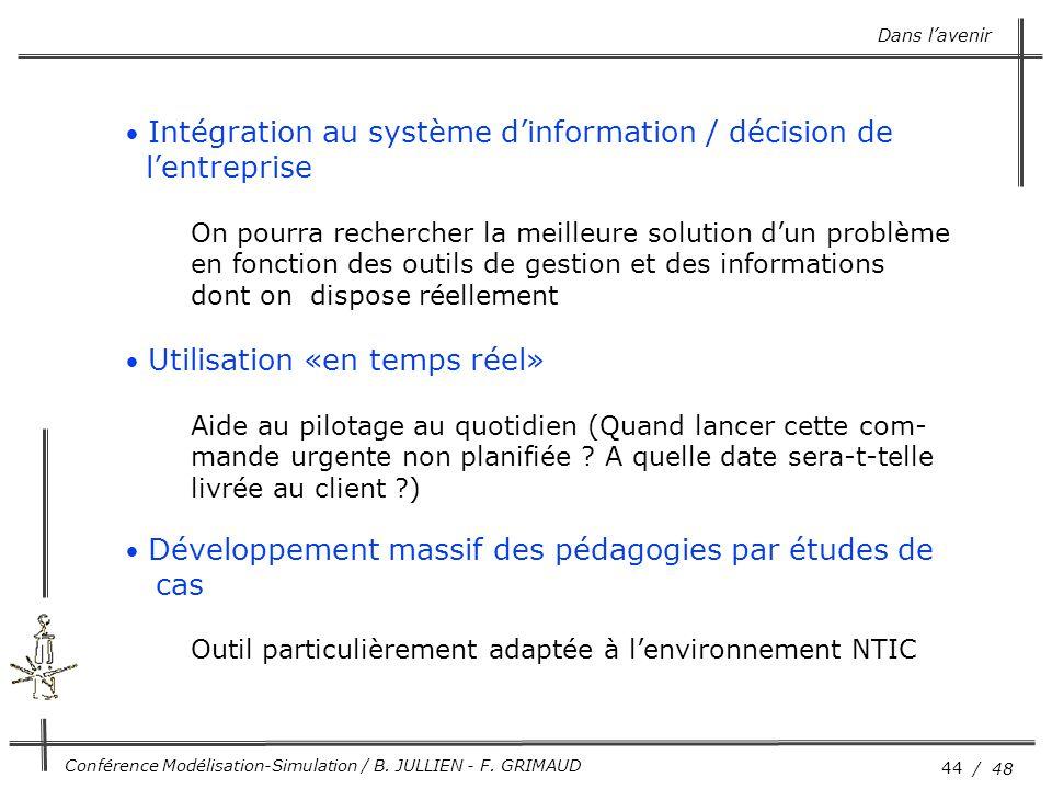 44 / 48 Conférence Modélisation-Simulation / B. JULLIEN - F. GRIMAUD Dans l'avenir Intégration au système d'information / décision de l'entreprise On