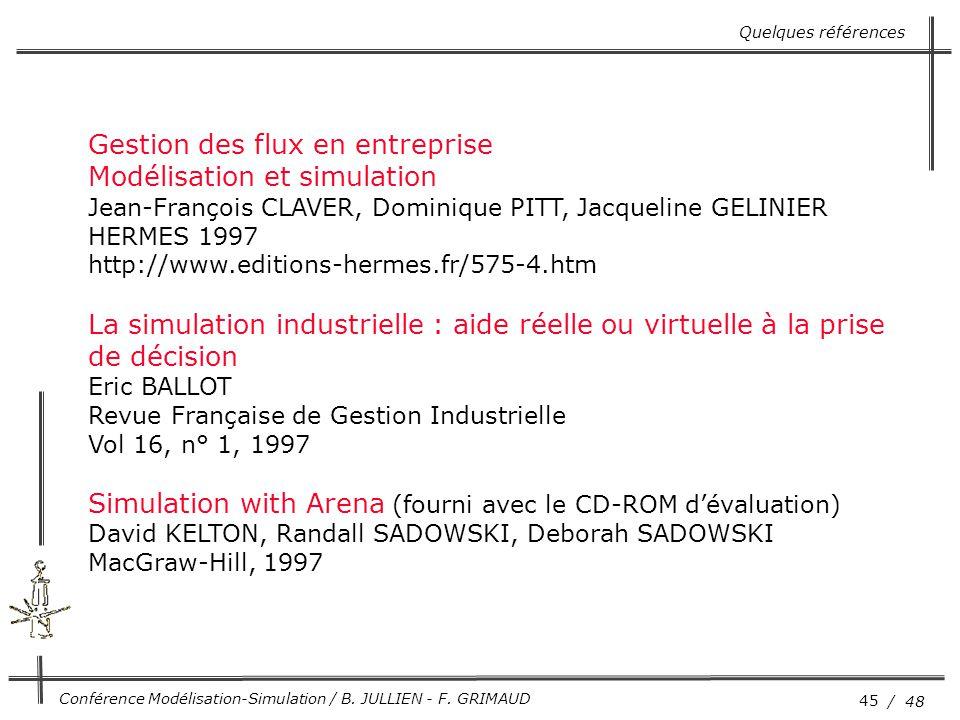 45 / 48 Conférence Modélisation-Simulation / B. JULLIEN - F. GRIMAUD Quelques références Gestion des flux en entreprise Modélisation et simulation Jea
