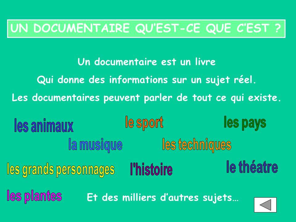 UN DOCUMENTAIRE QU'EST-CE QUE C'EST ? Un documentaire est un livre Qui donne des informations sur un sujet réel. Les documentaires peuvent parler de t