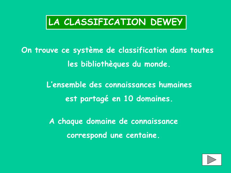 LA CLASSIFICATION DEWEY On trouve ce système de classification dans toutes les bibliothèques du monde. L'ensemble des connaissances humaines est parta