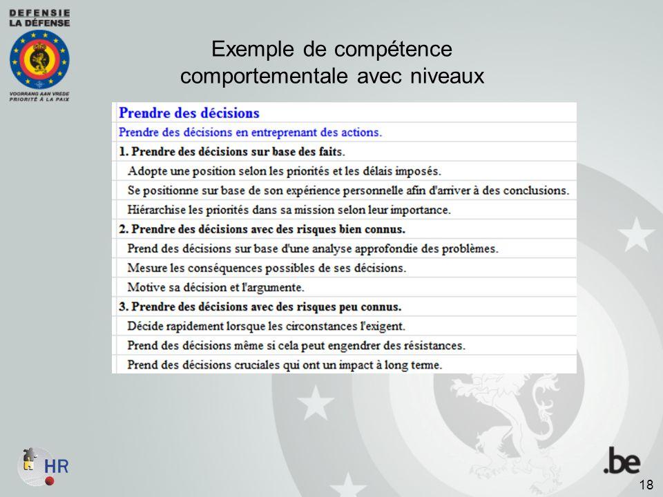 Exemple de compétence comportementale avec niveaux 18