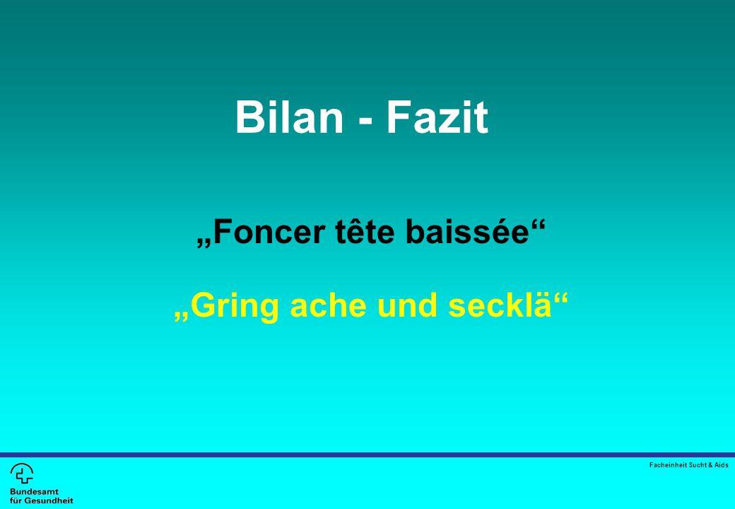 """Bilan - Fazit """"Foncer tête baissée """"Gring ache und secklä Facheinheit Sucht & Aids"""