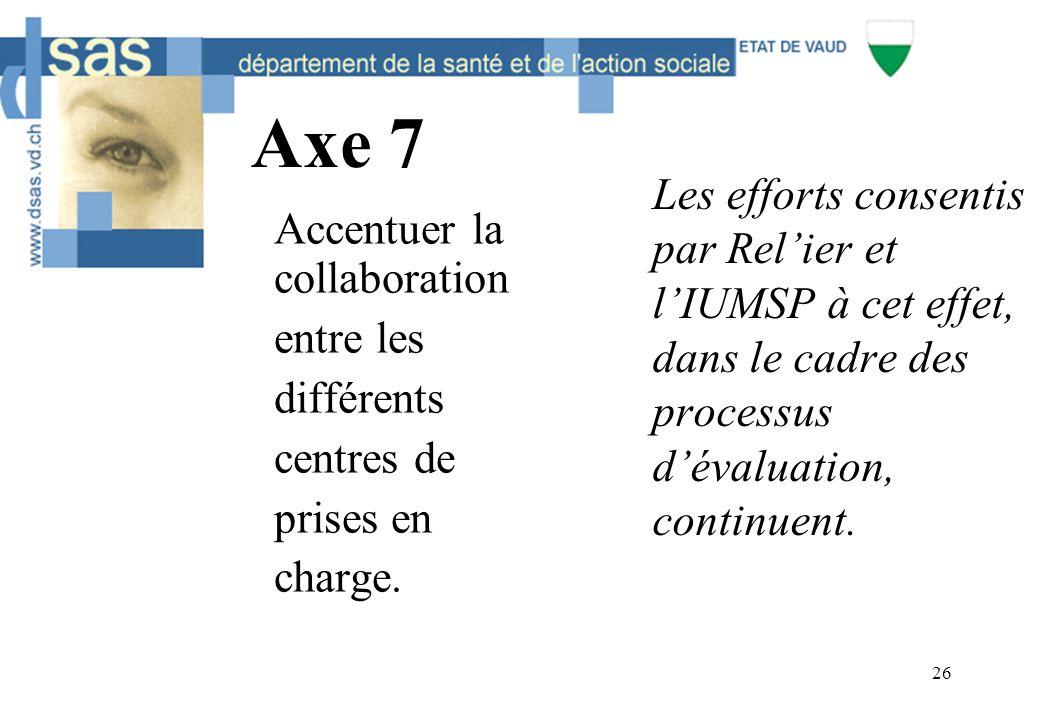 26 Axe 7 Accentuer la collaboration entre les différents centres de prises en charge. Les efforts consentis par Rel'ier et l'IUMSP à cet effet, dans l