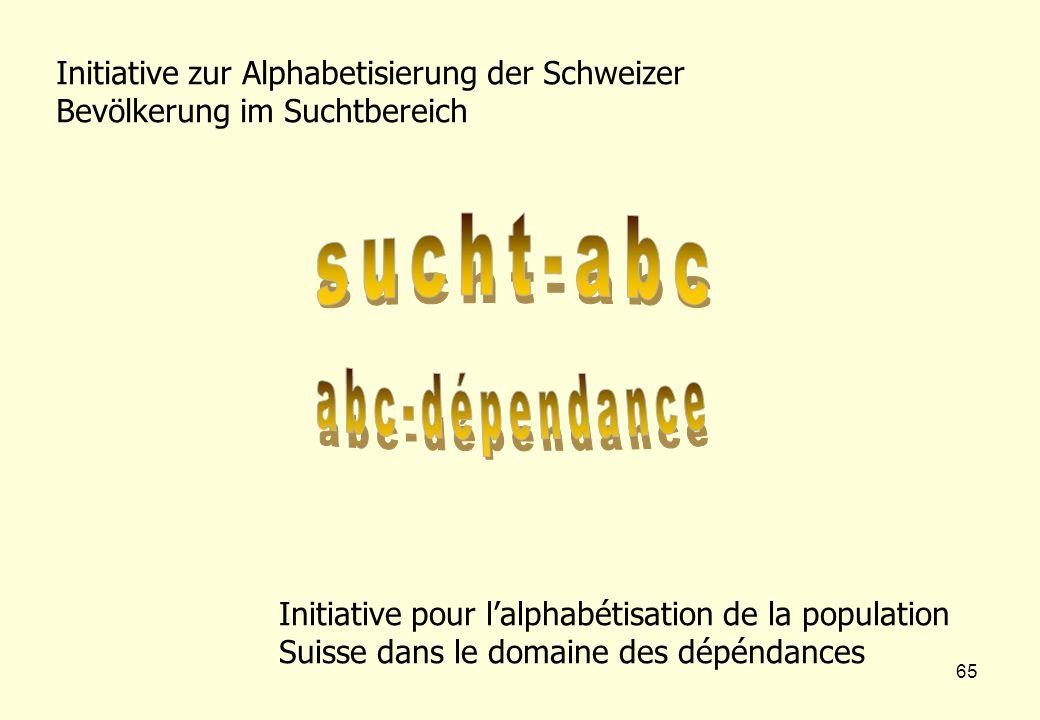 65 Initiative zur Alphabetisierung der Schweizer Bevölkerung im Suchtbereich Initiative pour l'alphabétisation de la population Suisse dans le domaine des dépéndances