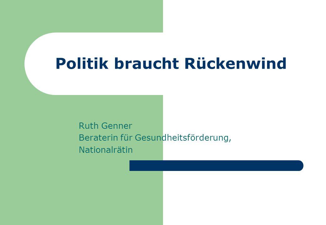 Politik braucht Rückenwind Ruth Genner Beraterin für Gesundheitsförderung, Nationalrätin
